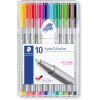 STAEDTLER TRIPLUS 334 Fineliner Assorted Colours Pack of 10