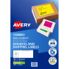 Avery High Visibility Shipping Laser Labels L7163FG 99.1x38.1 Fluro Green 350 Label 25 Sheet