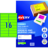 AVERY L7162FG LASER LABELS 16UP 99.1x34mm Fluoro Green Pack of 25