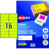 AVERY L7162FY LASER LABELS 16UP 99.1x34mm Fluoro Yellow Pack of 25