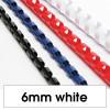 Rexel Plastic Binding Comb 6mm 25 Sheet Capacity White Pack of 100