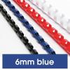 Rexel Plastic Binding Comb 6mm 25 Sheet Capacity Blue Pack of 100