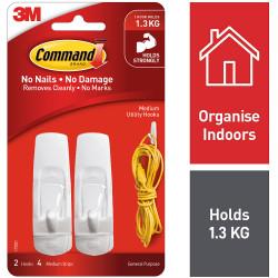 Command General Purpose Hooks 17001 Medium White Pack of 2
