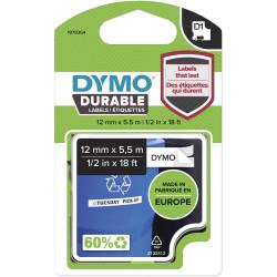Dymo D1 Label Cassette Tape Durable 12mm x 5.5m Black on White