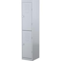 STEELCO PERSONNEL LOCKER 2 Door Silver Grey H1830xW380xD460mm