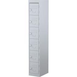 STEELCO PERSONNEL LOCKER 6 Door Silver Grey H1830XW305mm