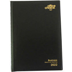 OFFICE CHOICE BUSINESS DIARY A4 Week To Opening Pvc Padded Cover Black