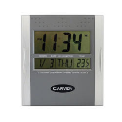 CARVEN WALL CLOCK Digital Silver
