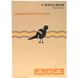 BIBBULMUN LAMINATING POUCHES A3 100 Micron Pack of 100